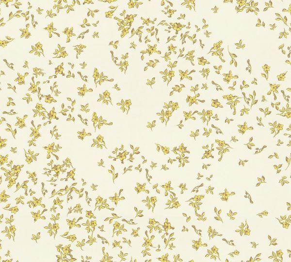 Versace Tapete kleine Blumen Floral weiß gelb metallic