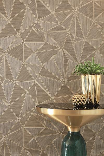 Vliestapete geometrisches Motiv mit metallischen Linien gold braun Großrolle