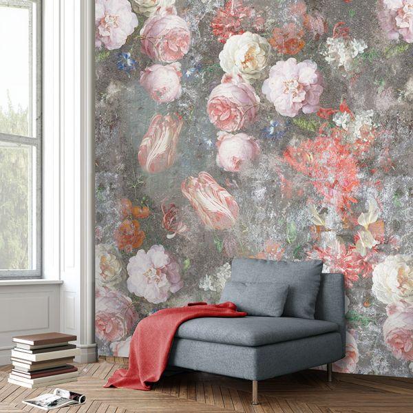 Vlies Fototapete Pfingstrosen Teerosen grau rose floral Blumen 200x280cm