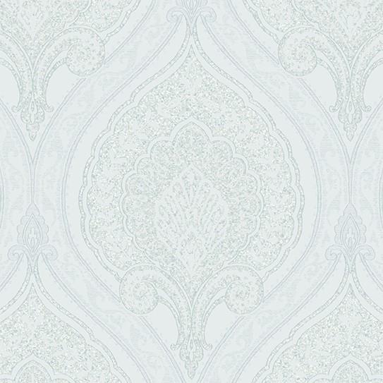 Vliestapete Barock Ornament weiß silber metallic