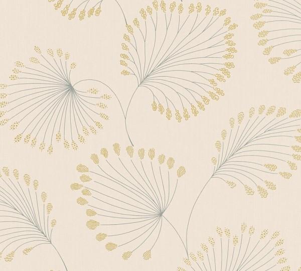 Vlies Tapete Blätter creme gold metallic