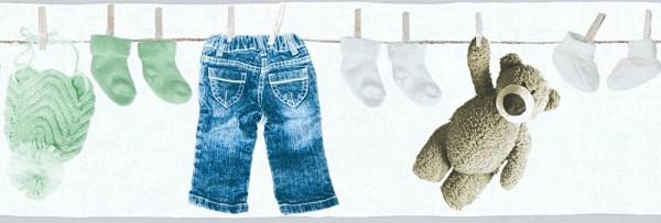 Tapeten Bordüre Wäscheleine Teddy Kleidung weiß mint blau