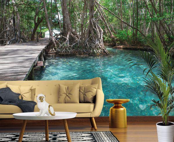 Fototapete Digitaldruck Dschungelpfad Mangroven 255 x 350 cm