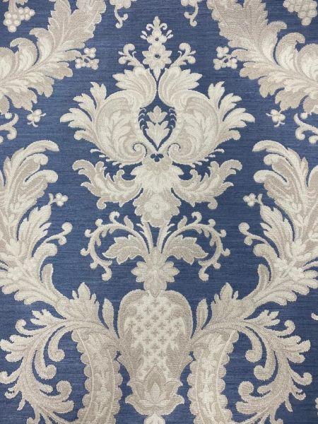 Hochwertige Vliestapete Barock Ornament Stickoptik blau beige