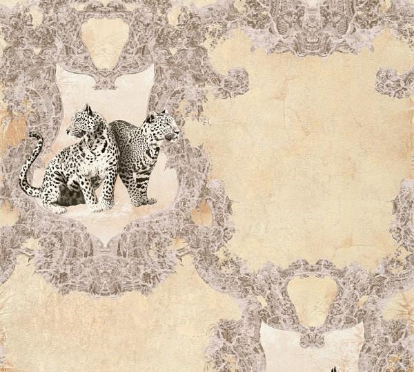 Vliestapete Leoparden creme beige Glanz