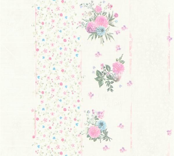 Vliestapete grafisch Streifen Blumen Schrift creme bunt