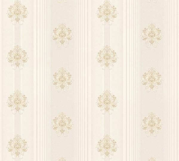Vliestapete Streifen Barock Floral creme beige