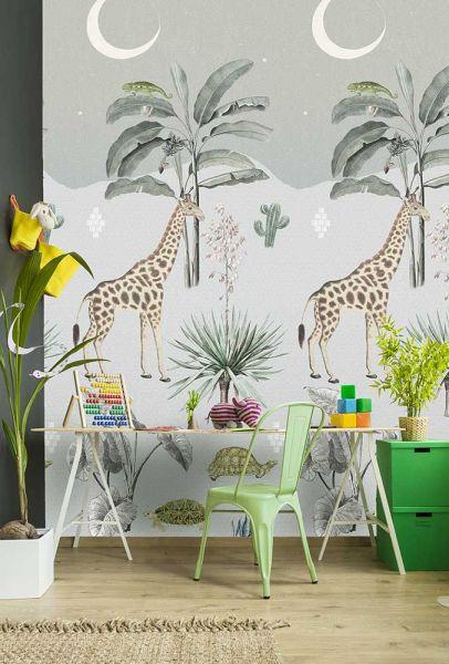 Vlies Fototapete Safari Giraffe bei Nacht Wandbild 100 x 280 cm