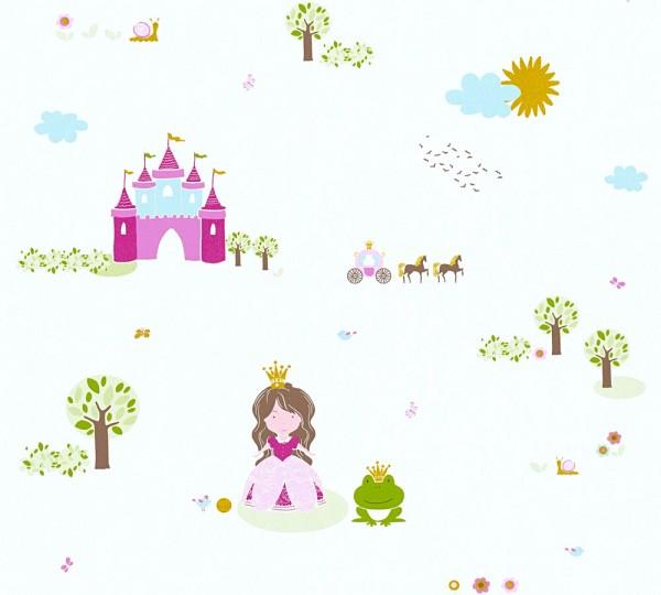 Vliestapete Kinder Schloss Prinzessin weiß pink