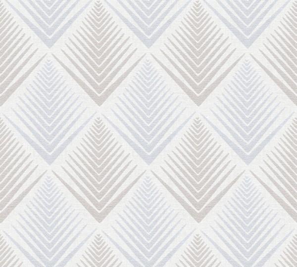 Vliestapete grafisches Rauten Muster blau creme grau