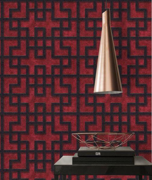 Vliestapete Asia Labyrinth bordeaux rot schwarz