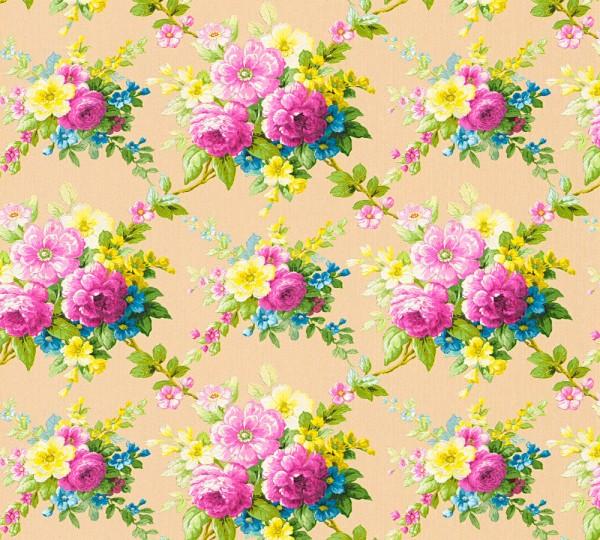Vliestapete Blumen Bouquet beige bunt glanz Chateau 5