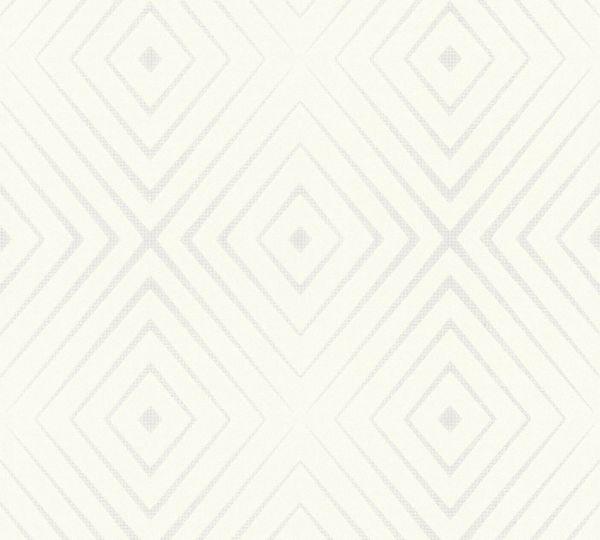 Vliestapete geometrische Rauten weiß silber