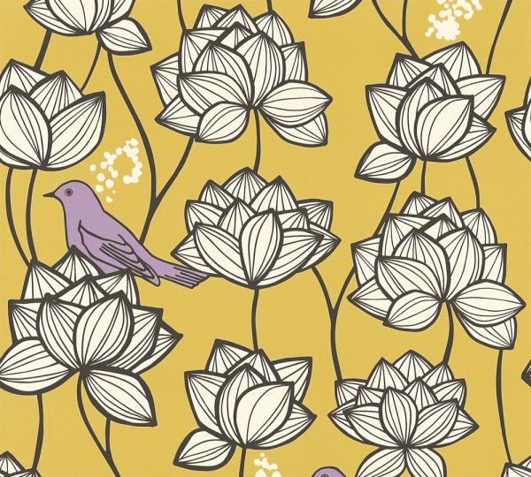 Vliestapete Blumen Vögel gelb weiß lila