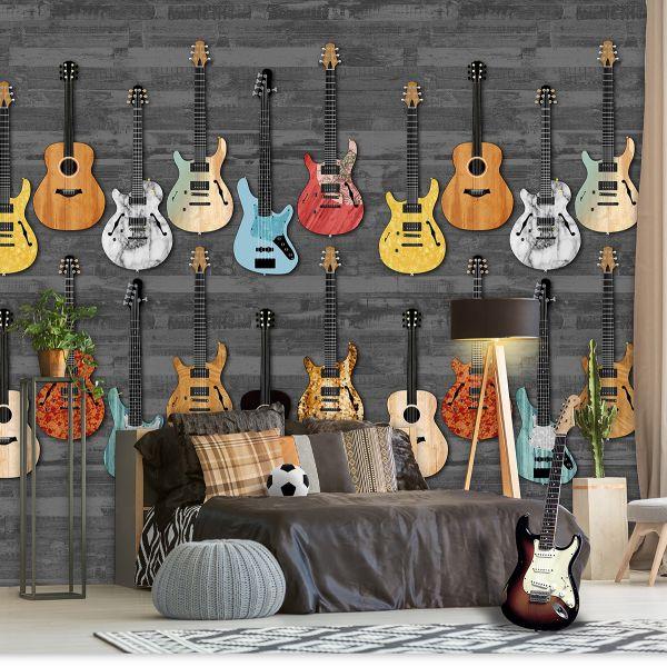 Vlies Fototapete Gitarren Holzwand Rockstar Musik Wandbild 200 x 300cm