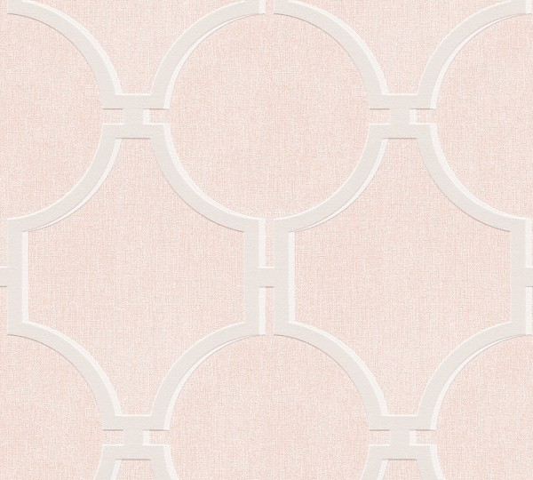 Vliestapete Vintage Grafik Kreise rosa creme grau Elegance