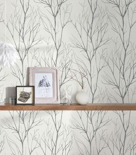 Vliestapete Natur Äste Zweige weiß schwarz metallic