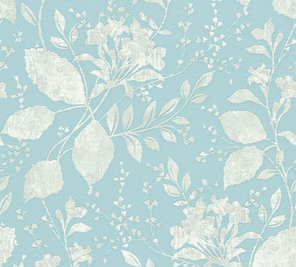 Vliestapete Floral Blätter blau grau glanz
