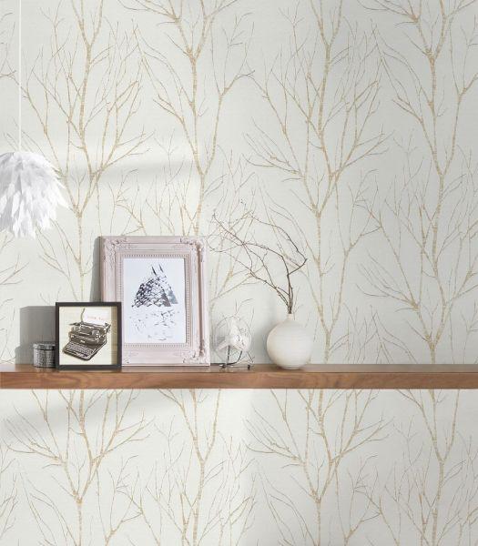 Vliestapete Natur Äste Zweige weiß gold metallic