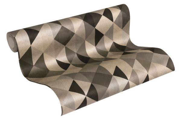 Vliestapete geometrische Dreiecke braun schwarz metallic