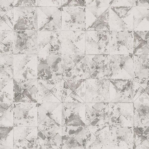 Vliestapete Beton Mosaik Kacheln weiß grau metallic