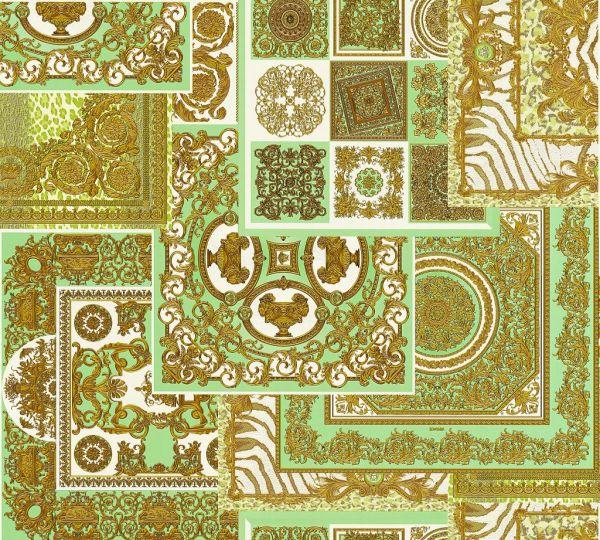 Versace 4 Patchwork Ornament Kacheln Tapete grün metallic
