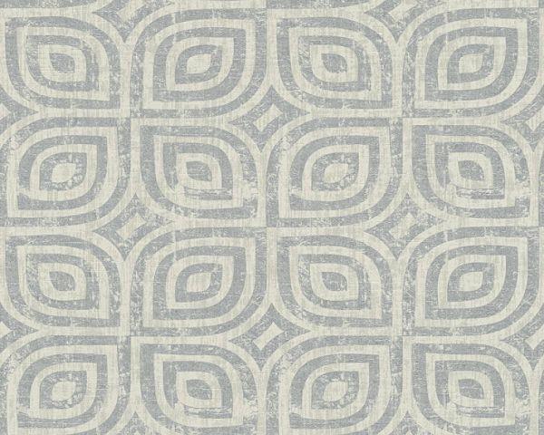 Vliestapete grafisches Muster silber grau metallic