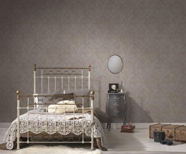 Großrolle Vliestapete Barock Vintage Textil Optik taupe beige Glitzer
