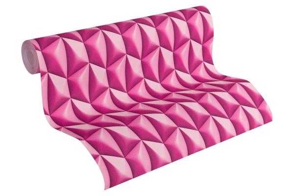 Vliestapete Kacheln Retro 3D pink by Mac Stopa