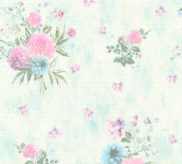 Vliestapete Blumen rosa grün Djooz 2