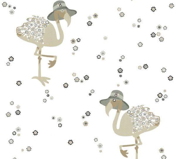 Vliestapete Flamingo Blumen weiß grau beige