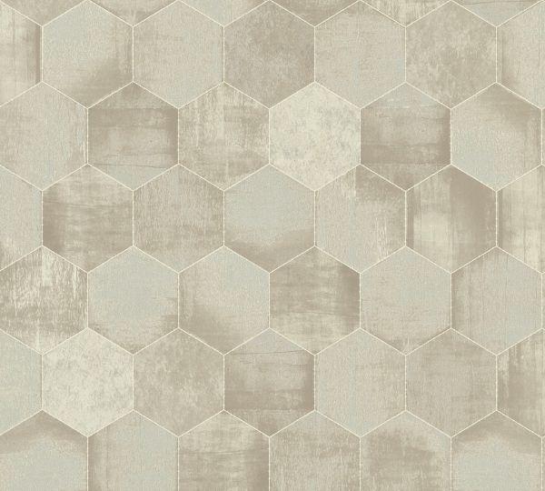 Vliestapete Hexagon Muster grafisch Waben creme beige