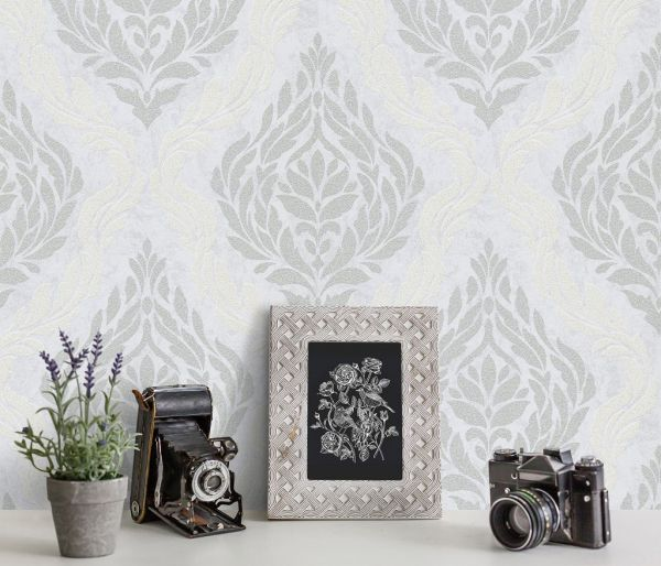 Vliestapete Carat Ornament weiß silber grau