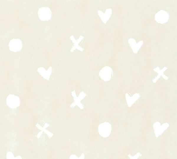 Vliestapete Herz Kreuz Punkt Muster creme beige