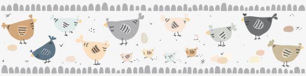 Selbstklebende Bordüre Hühner grau braun 5,00m x 0,155m