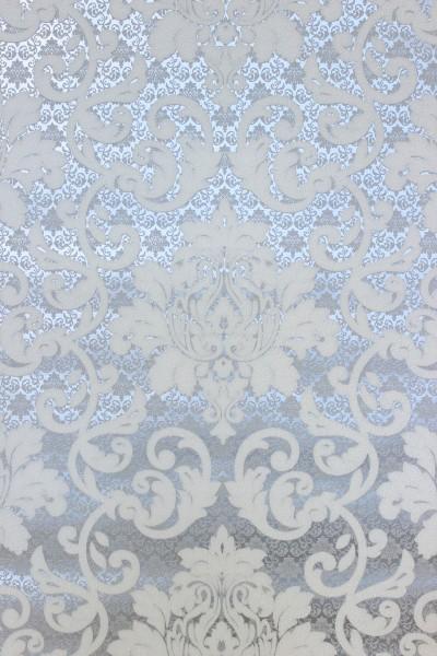 Vliestapete Barock Muster Ornament silber grau weiß metallic