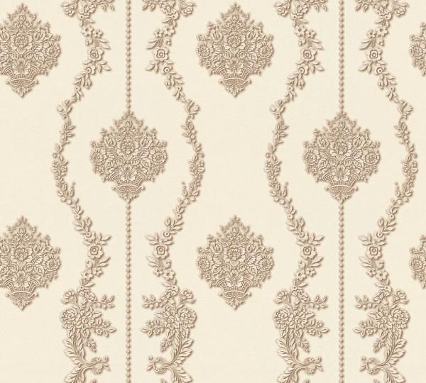 Vliestapete Barock Ornament Streifen creme braun Chateau 5