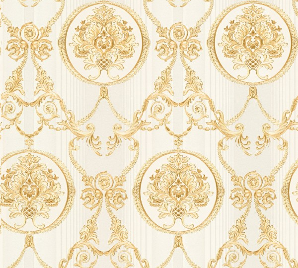 Vliestapete klassischer Barock creme gold metallic
