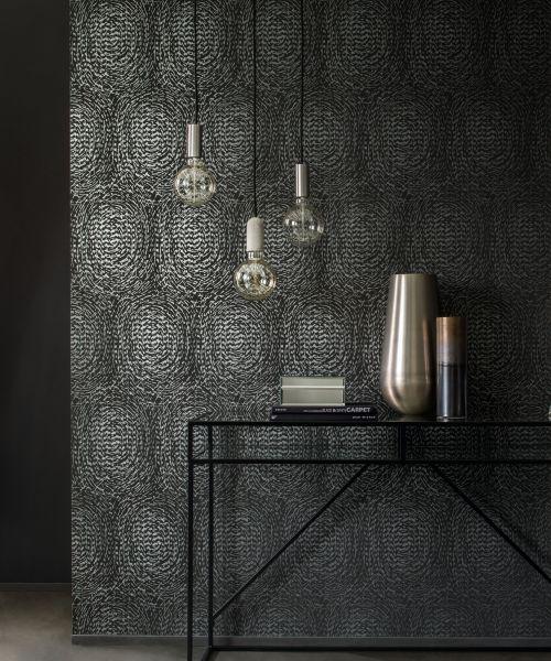 Vlies Tapete grafische abstrakte Kreise schwarz braun metallic