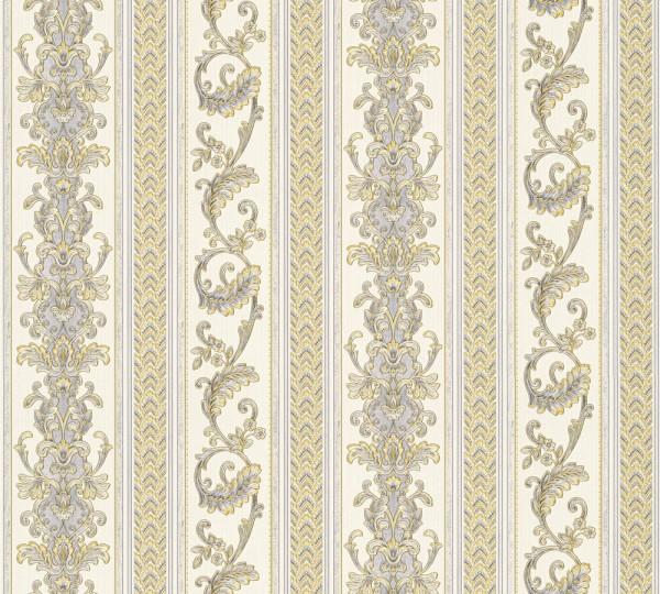 Vliestapete Ranken Streifen Optik weiß gold glanz