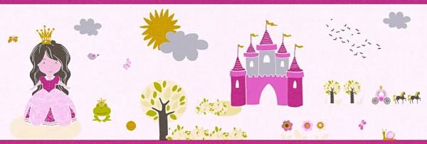 Tapeten Bordüre Schloss Prinzessin rosa pink