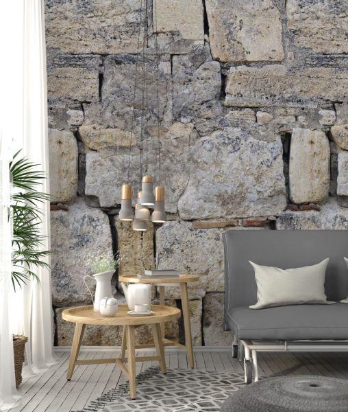 Vlies Fototapete große Bruchsteine Mauer 200x280cm