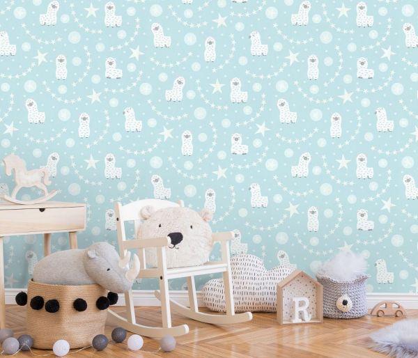 Vliestapete Baby Lamas Sterne glitzer blau türkis weiß Struktur