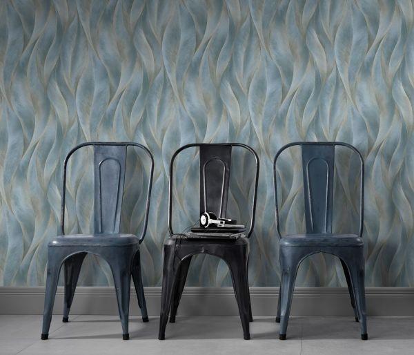 Vliestapete 3D Blätter blau grau gold metallic