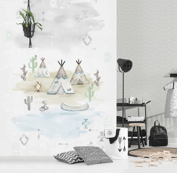 Kinder Vlies Fototapete Tipi Indianer Zelt Wandbild 200 x 300cm