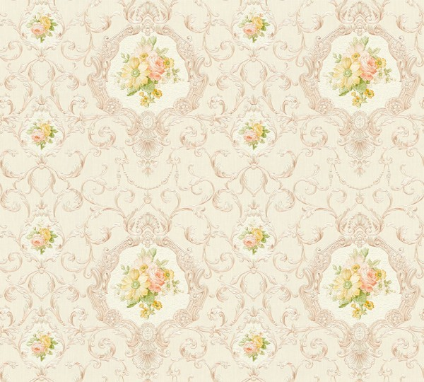Vliestapete Ranken Blumen creme beige glanz Chateau 5