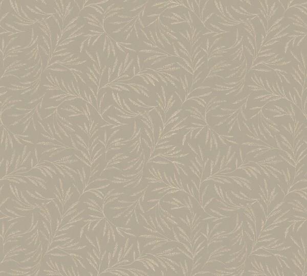 Vliestapete Blätter Zweige taupe braun glanz