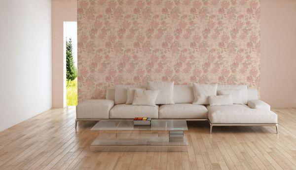 Florales Muster Vliestapete beige rosa Character