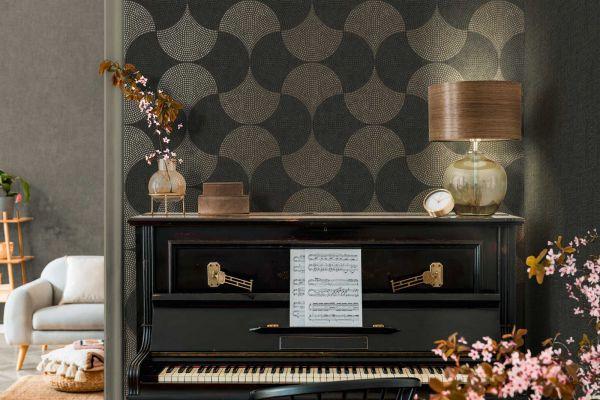 Vliestapete geometrische Mosaik Blätter Cuba schwarz gold