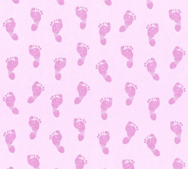 Vliestapete Kinder Baby Fußabdruck rosa